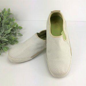 KEDS White Green Mesh Slip On Sneakers